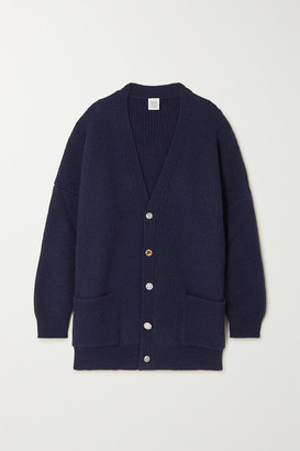 Vetements Oversized Crystal-embellished Ribbed Wool Cardigan - Navy