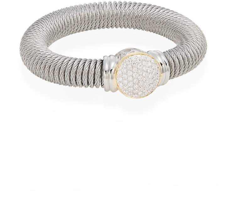 Alor Women's Diamond, Stainless Steel & 18K Yellow Gold Coil Bracelet