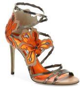 Jimmy Choo Lolita 100 Strappy Laser-Cut Metallic Leather Sandals
