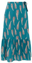 Adriana Degreas Aloe-print Silk-crepe Wrap Midi Skirt - Womens - Blue Print