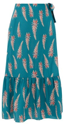 Adriana Degreas Aloe-print Silk-crepe Wrap Midi Skirt - Blue Print