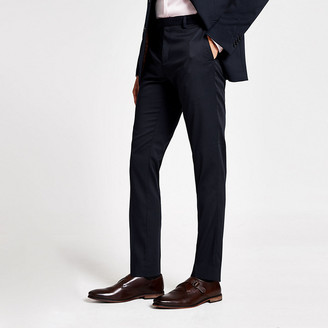 River Island Navy stretch skinny suit trousers