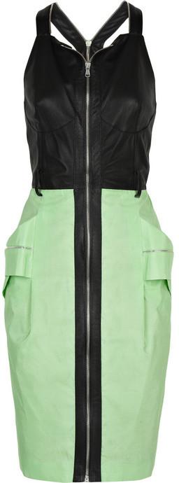 Proenza Schouler Leather-trimmed silk dress