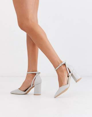 Be Mine Bridal Katy heeled shoes in silver shimmer