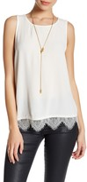 Cupcakes And Cashmere Crew Neck Sleeveless Lace Trim Blouse