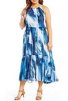 Vince Camuto Plus Printed Chiffon Halter Midi Dress