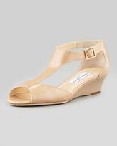 Jimmy Choo Treat Patent T-Strap Wedge Sandal