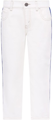 Gucci White Jeans For Boy With Red And Blue Web Detail
