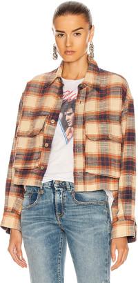 R 13 Oversized Cropped Shirt in Beige Plaid | FWRD
