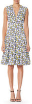 Carolina Herrera Sleeveless Daisy-Print Day Dress, White Pattern