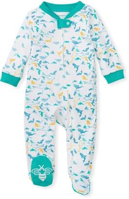 Burt's Bees Shark Attack Organic Baby Zip Front Loose Fit Footed Pajamas