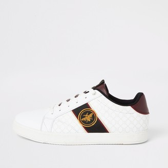 River Island Mens White wasp embroidered RI lace-up trainers