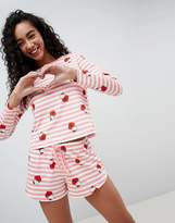 Asos Hello Kitty x Stripe Long Sleeve T-Shirt and Short PJ Set