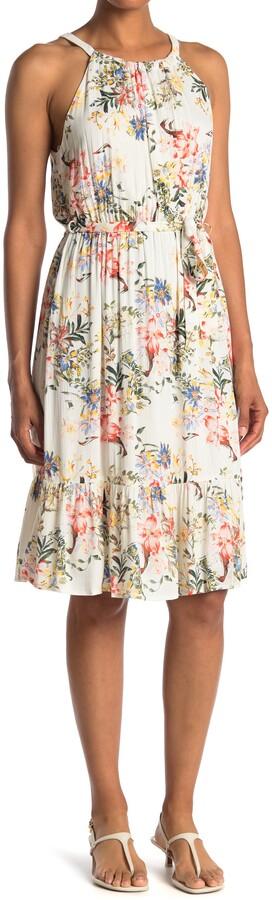 Collective Concepts Halter Floral Print Ruffle Hem Midi Dress