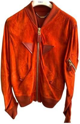Loewe Orange Suede Leather Jacket for Women