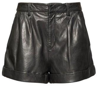 Etoile Isabel Marant Fabot Pleated Leather Shorts - Black