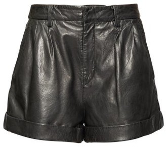 Etoile Isabel Marant Fabot Pleated Leather Shorts - Womens - Black