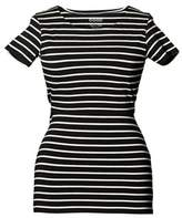 Boob Black and White Striped Short Sleeve Simone Top