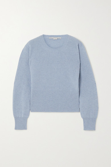 Stella McCartney Ribbed Cashmere And Wool-blend Sweater - Blue