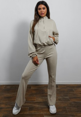 Missguided Petite Stone Co Ord Rib Straight Joggers