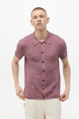 Urban Outfitters Purple Textured Button-Up Jumper Shirt - Purple L at