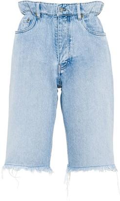 Miu Miu Frayed High-Waisted Denim Shorts