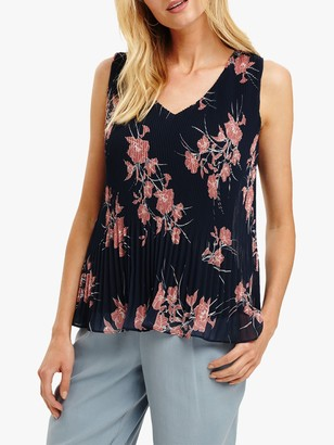 Phase Eight Luana Floral Print Blouse, Navy