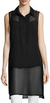 Neiman Marcus Sleeveless Long Chiffon Tank w/ Pintucked-Bib, Black
