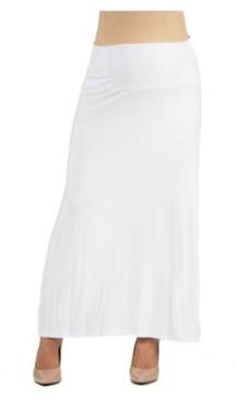 24Seven Comfort Apparel Women's Elastic Waist Solid Color Maternity Maxi Skirt