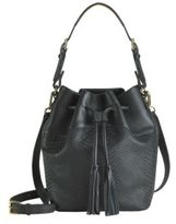 GiGi New York Jenn Python-Embossed Leather Bucket Bag