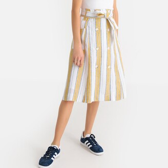 La Redoute Collections Linen Striped Tie-Waist Buttoned Skirt