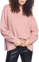 Found Denim Side Slit Ballet Neck Cotton Blend Sweatshirt