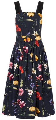 Oscar de la Renta Floral cotton poplin midi dress