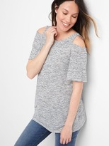 Maternity jersey cold-shoulder tee