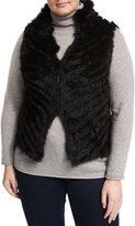 P. Luca Diagonal-Knit Fur Vest, Black, Plus Size