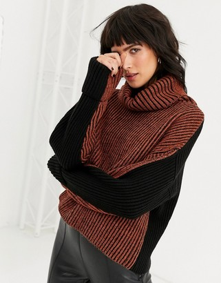 Topshop rust colourblock jumper with roll neck in wool blend