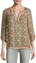 Joie Ronny Floral-Print Silk Top, Green