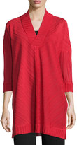 Misook Ribbed 3/4-Sleeve V-Neck Tunic, Classic Red
