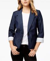 Kensie Chambray Single-Button Blazer