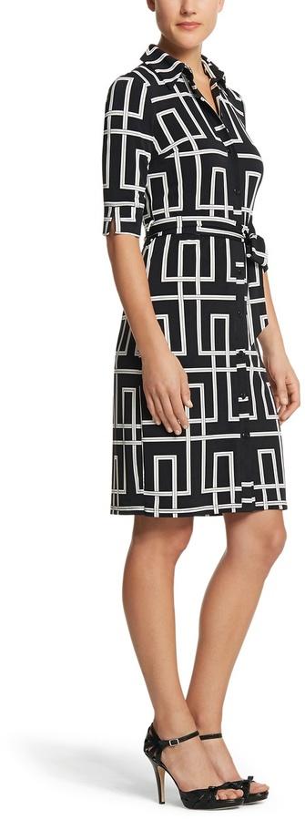 White House Black Market Geo Print Shirt Dress