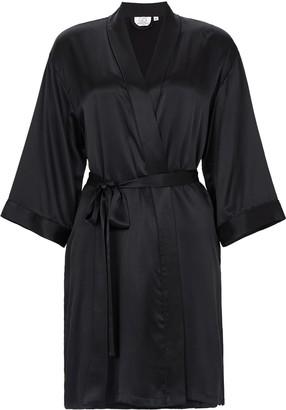 Not Just Pajama Classic Silk Wedding Robe - Black