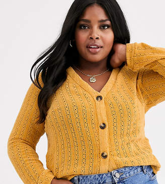 Glamorous Curve cardigan in pointelle-Yellow