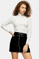 Topshop PETITE Grey Knitted Marl Funnel Neck Top