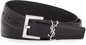 Saint Laurent Monogram Textured Patent Leather Belt