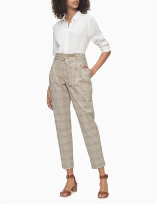 Calvin Klein Glen Plaid Belted Straight Leg Pants