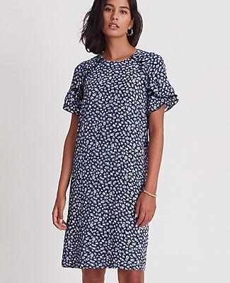 Ann Taylor Floral Ruffle Sleeve Shift Dress