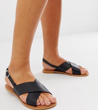 Asos DESIGN Wide Fit Valid leather cross strap flat sandals