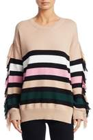No.21 NO. 21 Striped Fringe Sweater