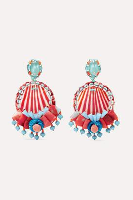 Ranjana Khan Beaded Shell, Leather And Raffia Clip Earrings - Red