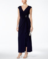 Connected Ruched Faux-Wrap Gown